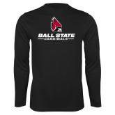 Performance Black Longsleeve Shirt-Cardinal Head Ball State Cardinals