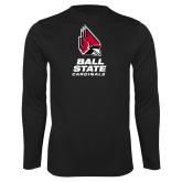 Performance Black Longsleeve Shirt-Cardinal Head Ball State Cardinals Vertical