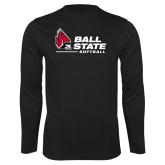 Performance Black Longsleeve Shirt-Ball State Softball