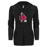 ENZA Ladies Black Light Weight Fleece Full Zip Hoodie-Cardinal