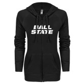 ENZA Ladies Black Light Weight Fleece Full Zip Hoodie-Ball State Stacked