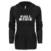 ENZA Ladies Black Light Weight Fleece Full Zip Hoodie-Ball State Stacked