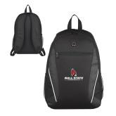 Atlas Black Computer Backpack-Cardinal Head Ball State Cardinals