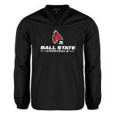 V Neck Black Raglan Windshirt-Ball State Cardinals w/ Cardinal