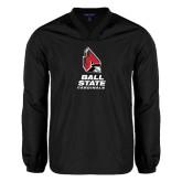 V Neck Black Raglan Windshirt-Ball State Cardinals Stacked