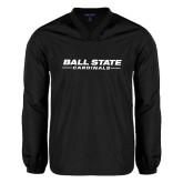 V Neck Black Raglan Windshirt-Ball State Cardinals
