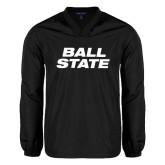 V Neck Black Raglan Windshirt-Ball State Stacked