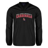 V Neck Black Raglan Windshirt-Arched Ball State University Cardinals