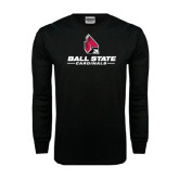 Black Long Sleeve TShirt-Ball State Cardinals w/ Cardinal