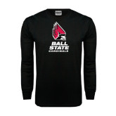 Black Long Sleeve TShirt-Ball State Cardinals Stacked