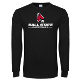 Black Long Sleeve T Shirt-Cardinal Head Ball State Cardinals