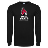 Black Long Sleeve T Shirt-Cardinal Head Ball State Cardinals Vertical
