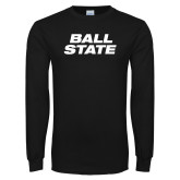 Black Long Sleeve T Shirt-Ball State Wordmark Vertical