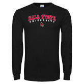 Black Long Sleeve T Shirt-Ball State University Arched