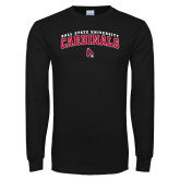 Black Long Sleeve T Shirt-Ball State University Cardinals Arched