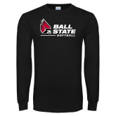Black Long Sleeve T Shirt-Ball State Softball