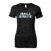 Next Level Ladies Junior Fit Black Burnout Tee-Ball State Stacked Foil