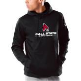 Under Armour Black Armour Fleece Hoodie-Cardinal Head Ball State Cardinals