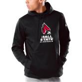 Under Armour Black Armour Fleece Hoodie-Cardinal Head Ball State Cardinals Vertical