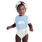 Light Blue Baby Bib-Ball State Wordmark Vertical