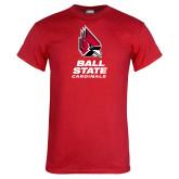 Red T Shirt-Cardinal Head Ball State Cardinals Vertical