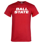 Red T Shirt-Ball State Wordmark Vertical