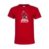 Youth Red T Shirt-Cardinal Head Ball State Cardinals Vertical