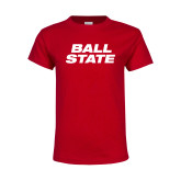 Youth Red T Shirt-Ball State Wordmark Vertical