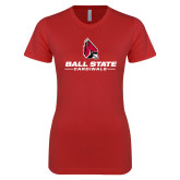 Next Level Ladies SoftStyle Junior Fitted Red Tee-Cardinal Head Ball State Cardinals