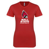 Next Level Ladies SoftStyle Junior Fitted Red Tee-Cardinal Head Ball State Cardinals Vertical