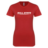 Next Level Ladies SoftStyle Junior Fitted Red Tee-Ball State Cardinals Wordmark