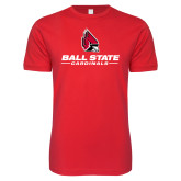 Next Level SoftStyle Red T Shirt-Cardinal Head Ball State Cardinals