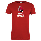 Ladies Red T Shirt-Cardinal Head Ball State Cardinals Vertical