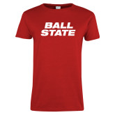 Ladies Red T Shirt-Ball State Wordmark Vertical