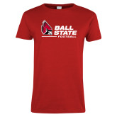 Ladies Red T Shirt-Ball State Football