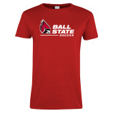 Ladies Red T Shirt-Ball State Soccer