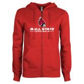 ENZA Ladies Red Fleece Full Zip Hoodie-Cardinal Head Ball State Cardinals