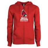 ENZA Ladies Red Fleece Full Zip Hoodie-Cardinal Head Ball State Cardinals Vertical