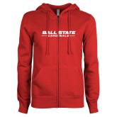 ENZA Ladies Red Fleece Full Zip Hoodie-Ball State Cardinals Wordmark