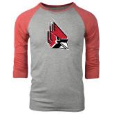 Grey/Red Heather Tri Blend Baseball Raglan-Cardinal