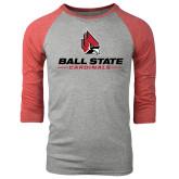 Grey/Red Heather Tri Blend Baseball Raglan-Ball State Cardinals w/ Cardinal