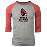 Grey/Red Heather Tri Blend Baseball Raglan-Ball State Cardinals Stacked