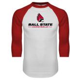 White/Red Raglan Baseball T Shirt-Cardinal Head Ball State Cardinals
