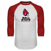 White/Red Raglan Baseball T Shirt-Cardinal Head Ball State Cardinals Vertical