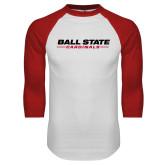 White/Red Raglan Baseball T Shirt-Ball State Cardinals Wordmark