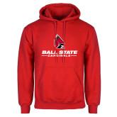 Red Fleece Hoodie-Cardinal Head Ball State Cardinals
