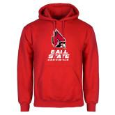 Red Fleece Hoodie-Cardinal Head Ball State Cardinals Vertical