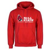 Red Fleece Hoodie-Ball State Softball