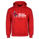 Red Fleece Hoodie-Ball State Volleyball