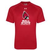 Under Armour Red Tech Tee-Cardinal Head Ball State Cardinals Vertical